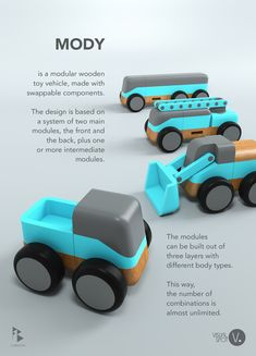 This is my design for a modular toy vehicle made entirely out of wood. I wanted to create a fun toy for kids that like big trucks with big wheels and who also love putting their minds into building them using multiple swappable components. Wooden Toy Cars, Wood Toys, Top Toddler Toys, Making Wooden Toys, Best Kids Toys, Toy Art, Designer Toys, Diy Toys, Handmade Toys