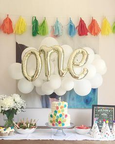 Balloon cloud first birthday party with balloon cake