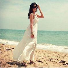 海滩度假*唯美舒适波西米亚棉纯白色吊带裙/连衣裙/沙滩裙/长裙 Beach resort * the aesthetic comfort bohemian pure cotton white Dress / dress / beach skirt / dress