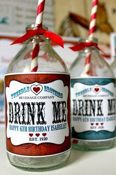 Alice in Wonderland Drink Bottle Labels INSTANT by Sassaby