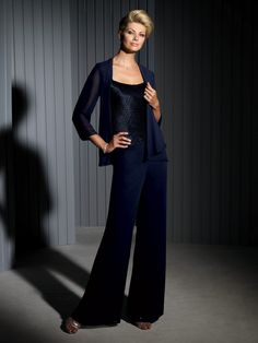 Cameron Blake 111673 - Four-piece chiffon and charmeuse pant and skirt set, sleeveless uniquely gathered charmeuse bodice with tapered shoulder straps and scoop neckline, chiffon wide leg pants, chiffon tea-length slim A-line skirt with hand-beaded trim, matching chiffon cardigan-style jacket with three-quarter length sleeves and beaded trim.