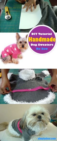 Handmade Dog Sweaters – DIY Tutorial. Learn how to make a dog sweater no sewing required and nothing to buy #dogs #sewing #sweaters