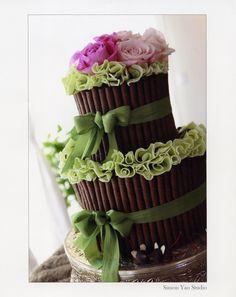 torta bambu di cioccolato e fiori