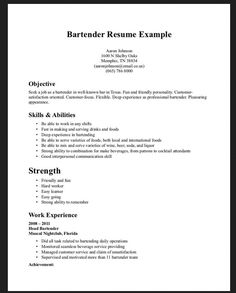 examples of bartending resumes bartender resume templates newsound ... - Bartender Resume Examples