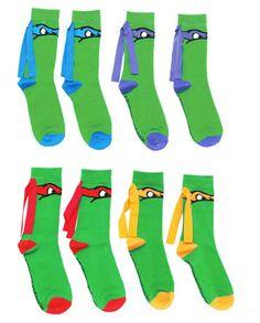 *Cut the bottom of socks so girls and I can wear our flip flops!  Ninja Turtle Crossfit Socks by CrossFitSocks on Etsy, $26.00