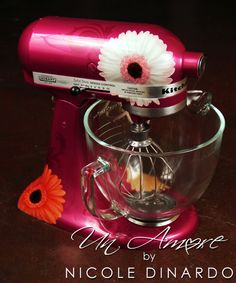 gerbera daisy floral themed Custom painted KitchenAid Mixer by © NICOLE DINARDO of UN AMORE