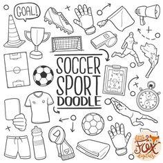 SOCCER FOOTBALL SPORT Doodle Icons Clipart Scrapbook Set Sports Drawings, Art Drawings, Football Doodle, Soccer Drawing, Soccer Art, Bullet Journal Mood, Color Lines, Chalkboard Art, Doodle Art