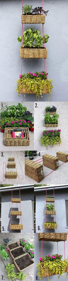Beautiful Hanging Basket : Garden DIY great idea to use in the kitchen for a salad or herb garden. I even see this as a window treatment.