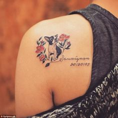 Never forgotten: Sauvignon the black and white French bulldog lives on in this tattoo ...