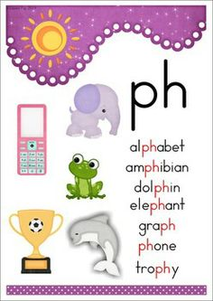 PH Digraph Games Activities Worksheets. 84 pages in total. A page from the unit: poster with pictures