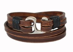 SB Leather bracelet genuine leather wristband leather wrap bracelet first class leather cuff handmade men's bracelet worn brown