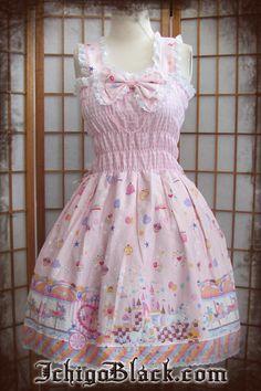 Pink deco sweet lolita tea party carousel jsk jumperskirt made by Ichigo Black :3