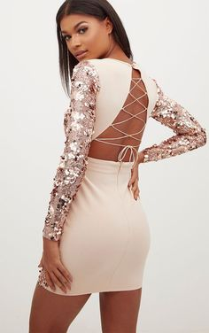 f95ed9a436c3f4 Rose Gold Sequin Front Long Sleeve Back Tie Detail Bodycon Dress