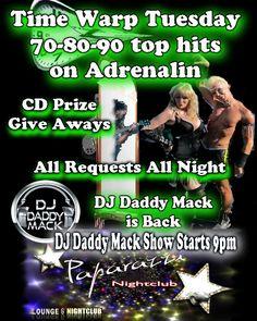 Club DJ Award winning DJ Daddy Mack puts on a Time warp Music Party show at Paparazzi Night Club Victoria BC