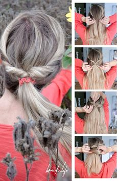 Hairstyles Instructions: Ponytail with twist - very easy - Frisuren Open Hairstyles, Elegant Hairstyles, Ponytail Hairstyles, Medium Hair Styles, Curly Hair Styles, Natural Hair Styles, Wrap Around Braid, Ponytail Tutorial, Costume Noir