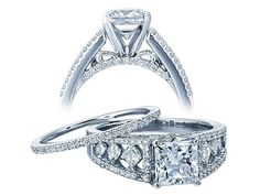 Ladies White Gold Engagement Ring for your 1.25ct PrincessCut (wedding band sold separately)