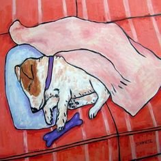 Jack Russell terrier Sleeping on a Couch with a Dog by lulunjay, $12.49