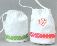 Shower or Beach Bag with Ribbon Trim
