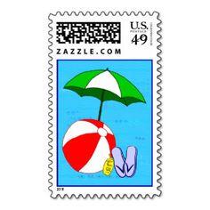 Beach Ball and Umbrella Postage