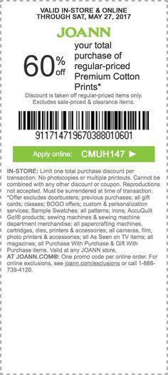 25+ best JoAnn Fabrics Coupons / Discounts images on Pinterest ...
