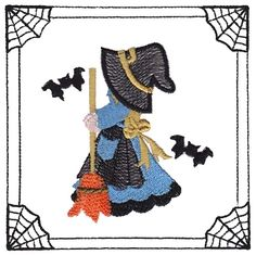 Sunbonnet Sue Witch #2 (KK1632A) Embroidery Design by Kinship ...