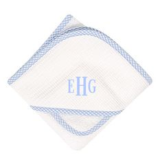 Our hooded towel and washcloth is made of pure cotton terry cloth. The towel is so large it can last well into the toddler years and the washcloth is trimmed with coordinating fabric. A Little Bit Of This Blue Gingham Hooded Towel & Washcloth Set. Click the image to get more information about the product, including personalization options, at our online store!