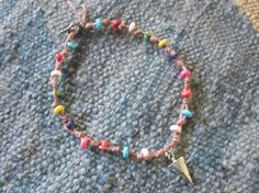 OOAK jewelry beaded ankle bracelet macrame by edanebeadwork, $15.00