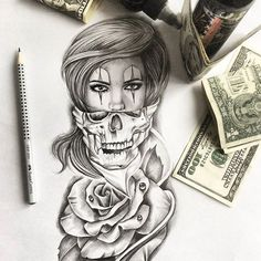 Skull Girl Tattoo, Girl Face Tattoo, Clown Tattoo, Skull Tattoos, Rose Tattoos, Leg Tattoos, Body Art Tattoos, Girl Tattoos, Sleeve Tattoos