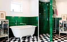 Badrumsinspiration: Buteljgrönt som accent i funkis badrum - Apocalypse Now And Then Bathroom Toilets, Accent, Clawfoot Bathtub, Betta, Ohio, Shower, Parenting, Content, Emerald Green