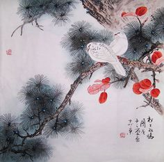 original painting chinese traditional art pine tree with two birds Chinese Artwork, Chinese Painting, Traditional Paintings, Traditional Art, Mourning Dove, Art Japonais, Two Birds, White Doves, Ink Painting