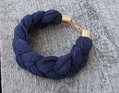 NAVY BLUE Jersey bracelet, summer accessories, braided bracelet upcycled jersey on Etsy, $10.00