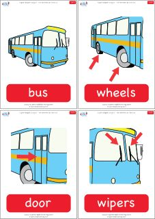 "Flashcards for the Super Simple Learning version of ""The Wheels On The Bus."" #preK #Kindergarten #ESL"
