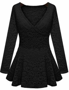 Black Long Sleeve Wrap Front Ruffle Hem Lace Top - Sheinside.com