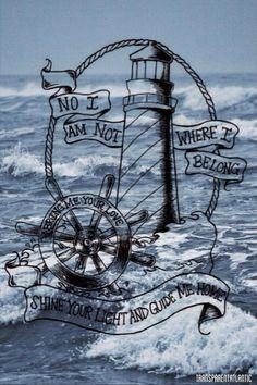 I adore this for a tattoo. I've had it in mind for years, it will be dark and stormy background with the light shining, my grandfathers initials in the lighthouse and add an Anchor at the bottom!