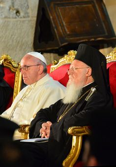 Ecumenical Patriarch Bartholomew and Pope Francis celebrate a prayer service together in the Church of the Holy Sepulcher.