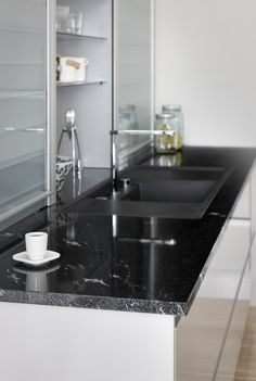 Kiven Herra / tasot Stormy Black Stone Countertops, Sink, Interior, Kitchen, Black, Home Decor, Sink Tops, Vessel Sink, Cooking