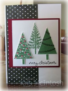 Freshly Made Sketches 148 - Festival of Trees, Good Greetings, Whisper White, Cherry Cobbler card, Neutrals DSP Stack, Garden Green, Cherry Cobbler, Early Expresso ink. by Kris McIntosh, www.stampingwithkris.com