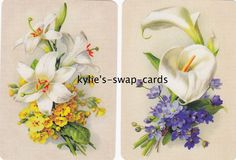 R35 Pair Swap Playing Cards Mint Condition Stunning Lily Lillies Flowers Linens | eBay