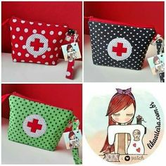 Necesserie medicamentos Fabric Bags, Fabric Scraps, Fun Diy Crafts, Sewing Crafts, Bazaar Crafts, Sewing School, Sewing Projects For Kids, Patchwork Bags, Minnie