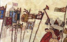 BEDNOBS AND BROOMSTICKS ~ an army of empty armor and waving banners, led by Miss Price - inspired by the Bayeaux Tapestry