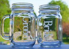 mason jar mug set mason jar drinking glasses bride by rachelwalter, $25.00