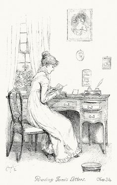 Reading Jane's letters.  Hugh Thomson, frontispiece from Pride and prejudice, by Jane Austen, London, 1894.
