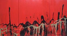 Fire Dance Triptych by Nanette Clifton. Visit www.visualemporium.com.au to see more of Nanette's art. #art #artist #creative #expression #movement #abstract #red #dance #flow #dramatic