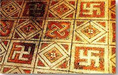 Hindu+Swastika | Antiguo piso de mosaico romano decorado con esvásticas en La Olmeda ...