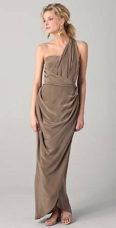 Zimmermann silk dress in mink, like the Grecian style, use more casual fabric