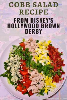 Cobb salad recipe from the Hollywood Brown Derby - Disney in your Day. Love this Cobb salad from the Brown Derby? Make it yourself at home with this easy recipe! Brown Derby, Disney Food, Disney Diy, Disney Dining, Cooking Turkey, Turkey Breast, Copycat Recipes, Cobb Salad, Salad Recipes