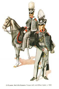 Prussian hussars of the 2nd Life regiment, private and officer, 1809 (Death Head)