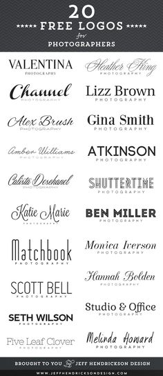 20 free photographer logos using free fonts.   - Font ideas