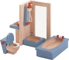 Plan Toys at Babipur. Furnish your dolls' house with this wooden bath, shower, sink and toilet set. This dolls' house set is a great way to kit out a play house with a modern bathroom, perfect for little dolls to have a wash in. Contemporary Living Room Furniture, Simple Furniture, Types Of Furniture, Furniture Plans, Furniture Buyers, Furniture Outlet, Discount Furniture, Rustic Furniture, Furniture Sets