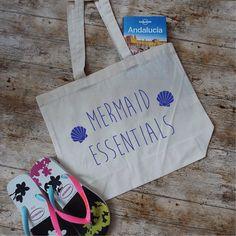 Mermaid Essentials Beach Bag. Mermaid Tote Bag. Mermaid Gift. Market Tote. Organic Cotton Bag. Shopping Bag. Bag For Life. by SoPinkUK on Etsy
